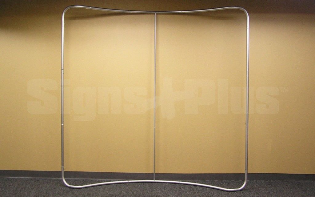 The LightWave II 8 foot horizontally curved tube tension fabric display frame hardware - front view