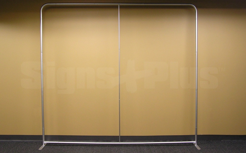 The LightWave II 8 foot straight tube tension fabric display frame hardware - front view