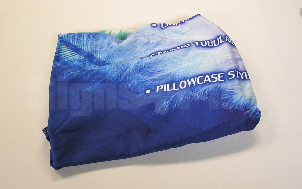 The dye sublimation custom printed spandex polyester fabric graphic folds to an incredibly compact size and weighs just 1 lb