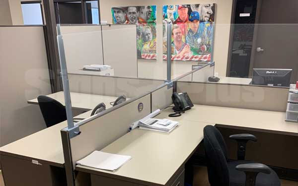 The versatile Cubicle Extender Shield system can be configured for larger group workstation spaces with multiple panels and posts