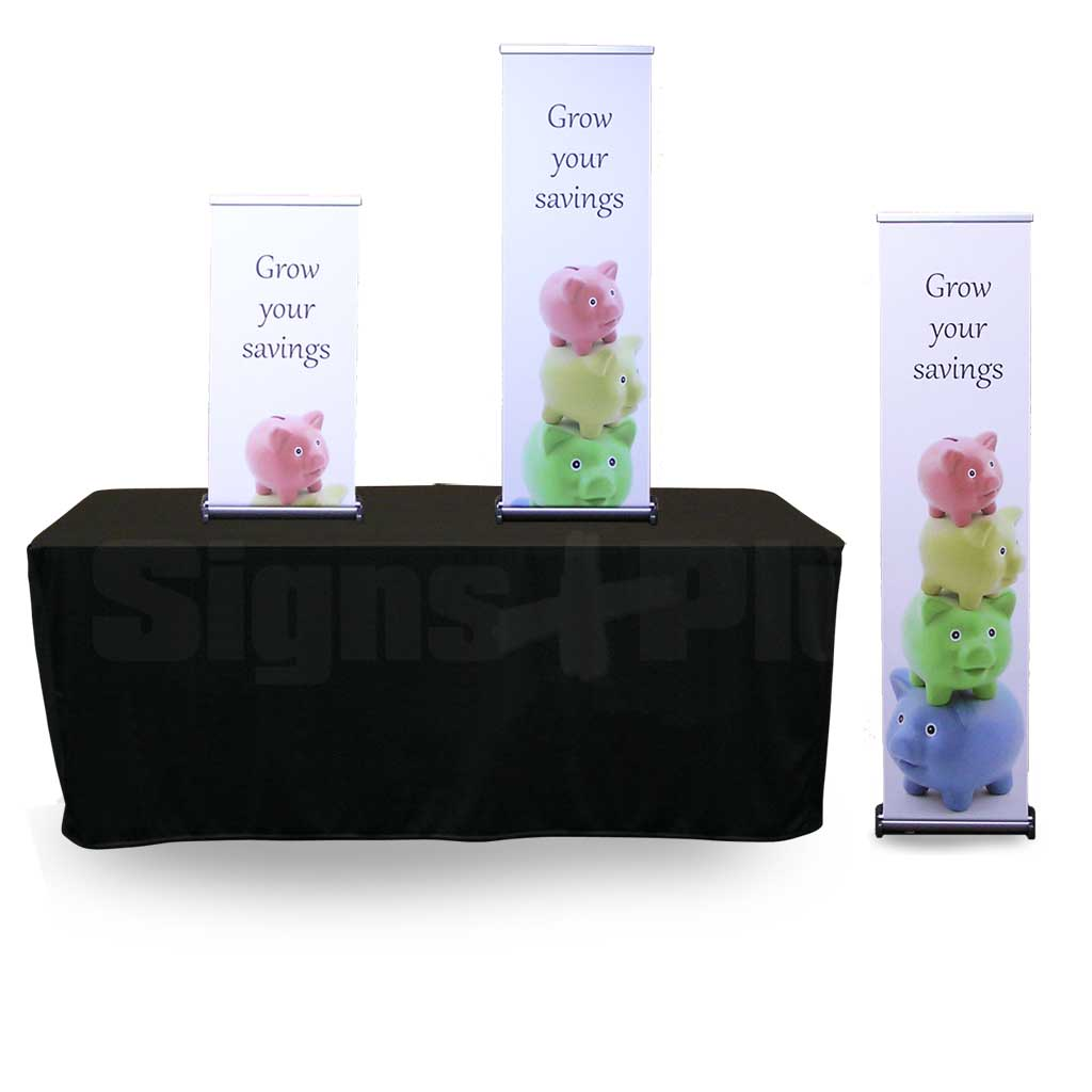 The versatile Phoenix Mini rollup banner stand looks great on a table top or with the optional height extender is tall enough for floor standing use