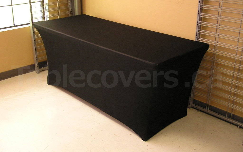 Plain Black or White Premium Custom Made Stretch Fit Spandex Table Cloth - Angle view