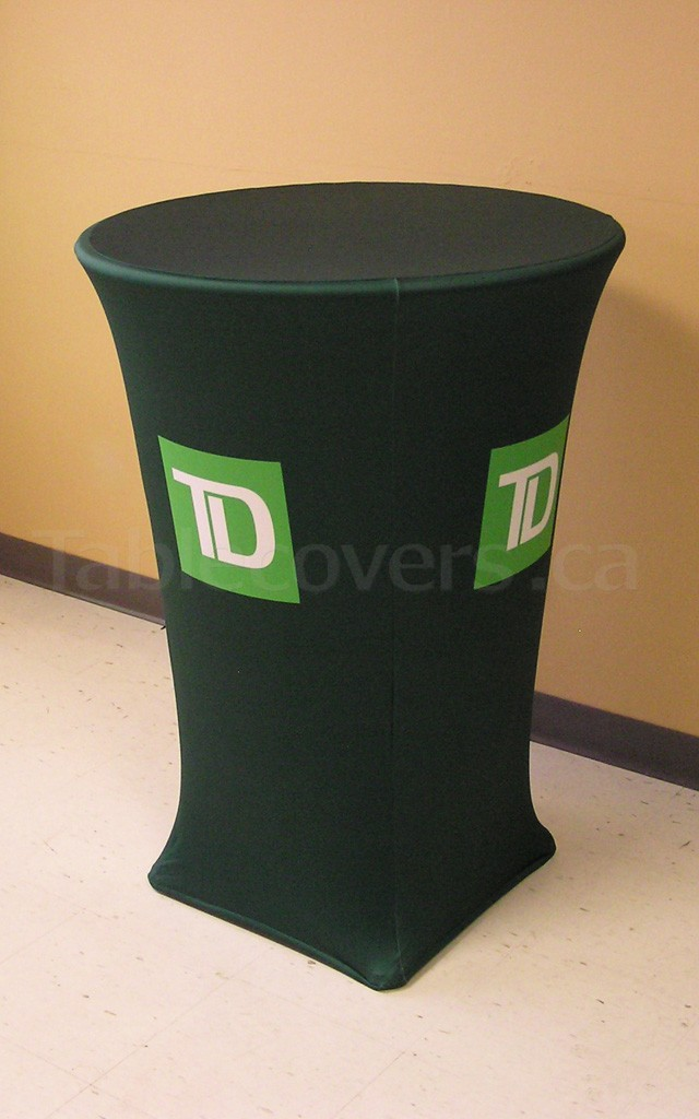 Stretch Fit spandex 30 inch diameter high boy cocktail table cover with custom printed logo and graphics all over the entire front and both side panels of the table cloth