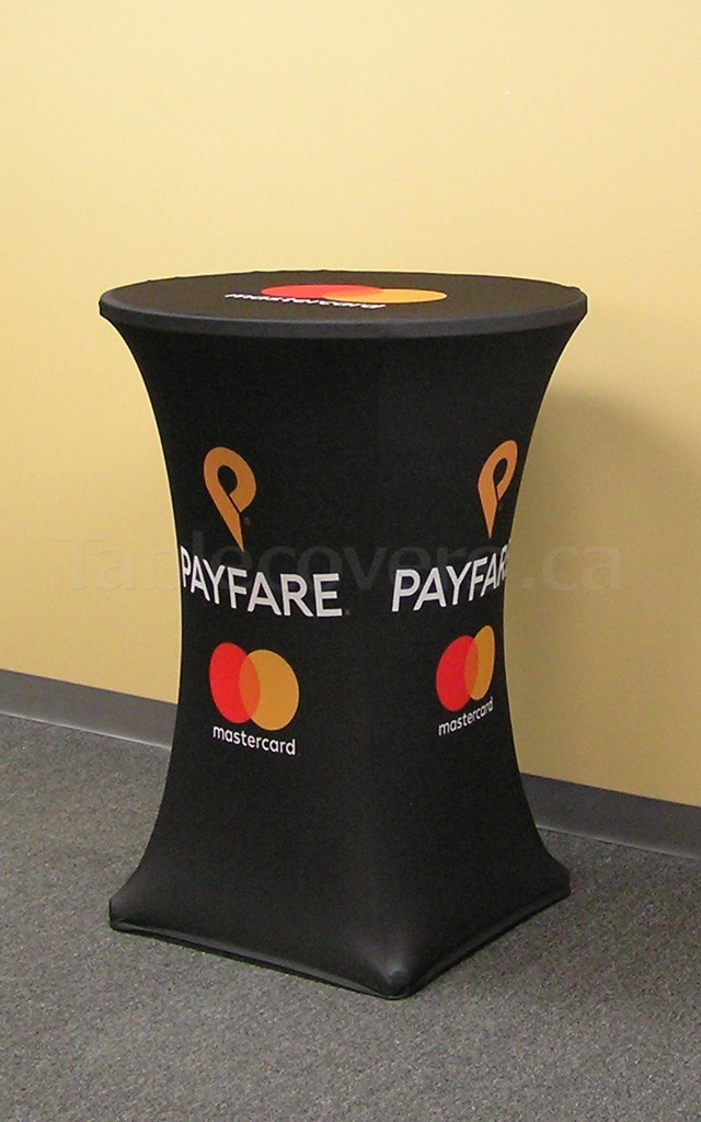 Stretch Fit spandex 30 inch diameter high boy bistro style cocktail table cover with custom printed logo and pantone background colour all over the entire front, top and side panels of the cloth