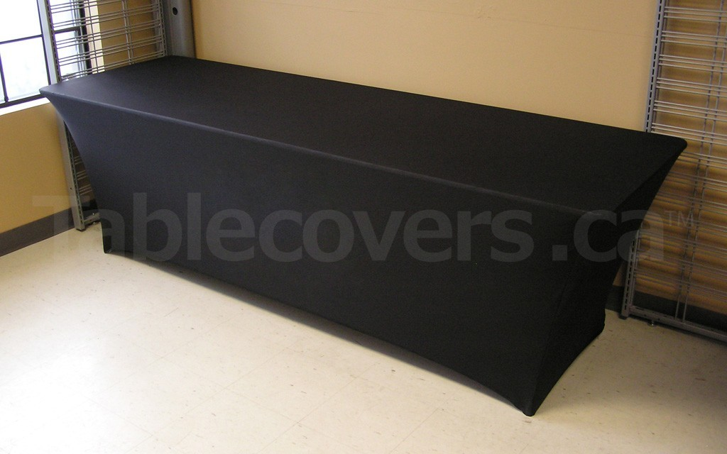 Plain Black Premium Stretch Fit Spandex 8 Foot Table Cloth Angle view