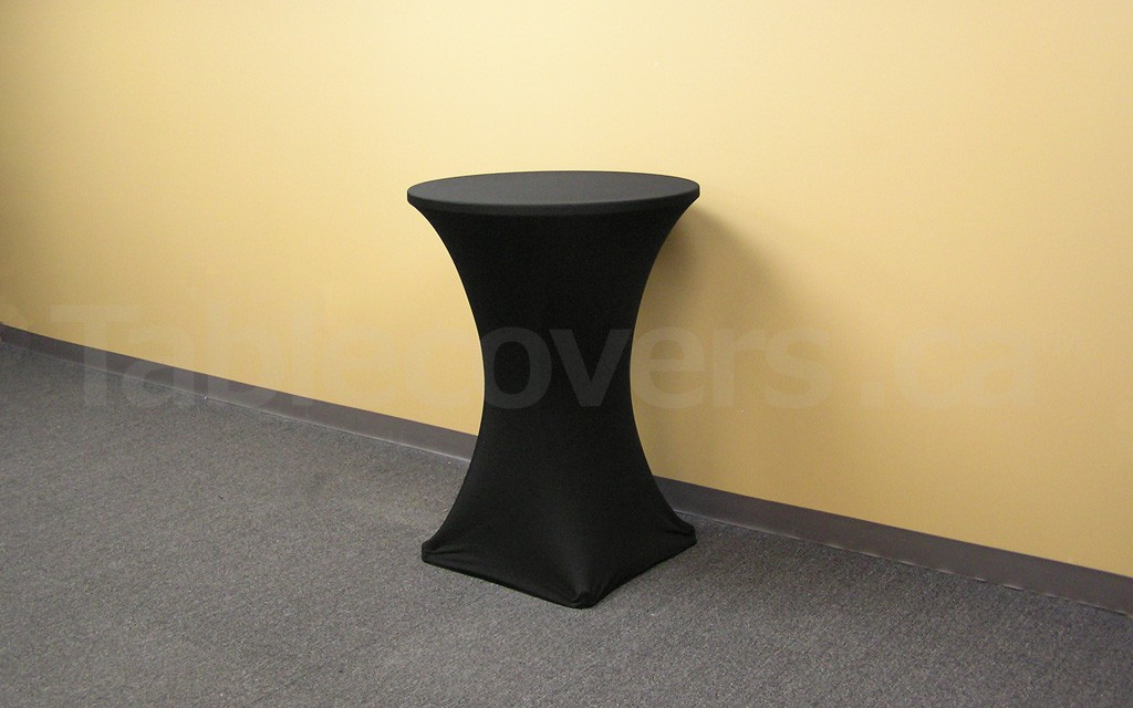 Plain Unprinted Black 30 - 32 inch diameter x 42 inch high Round HighBoy Cocktail Table Cover