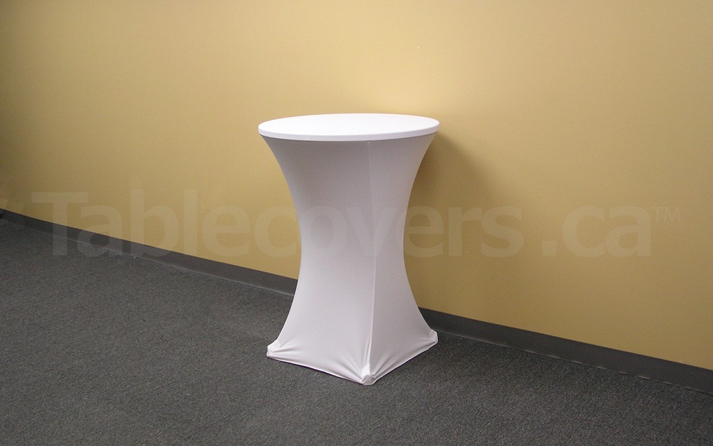 Plain Unprinted White 30 - 32 inch diameter x 42 inch high Round HighBoy Cocktail Table Cover
