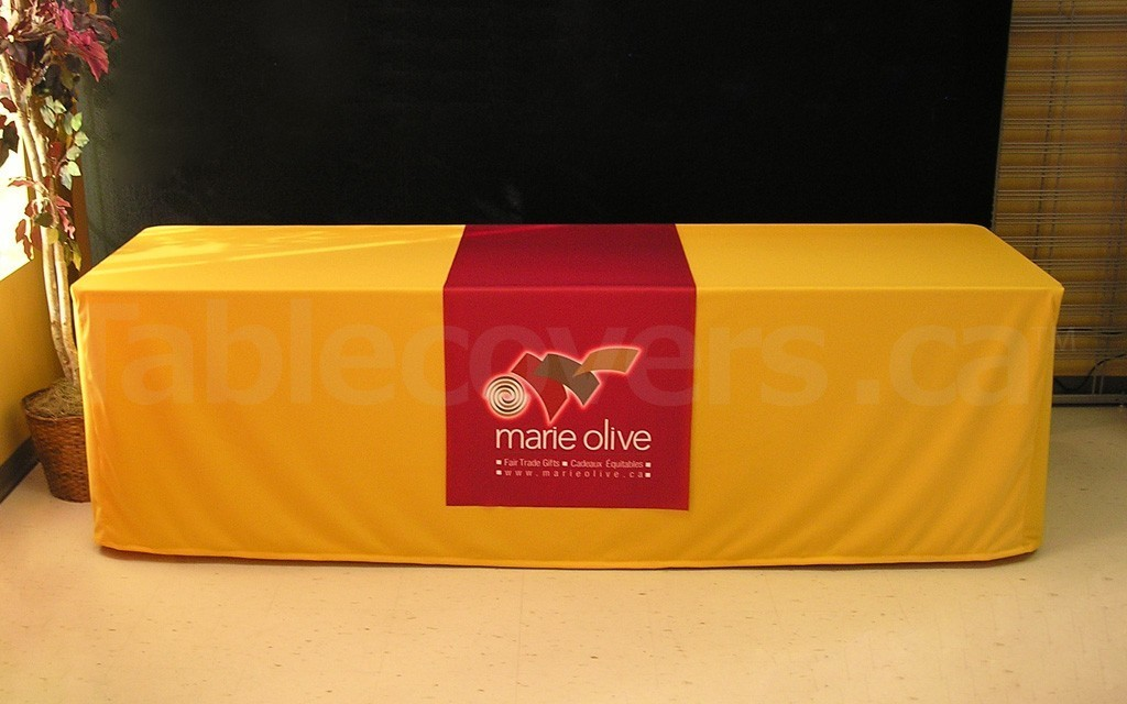 This custom printed 24 inch x 60 inch table runner looks great on a cognac colour premium plain unprinted fitted style table cover
