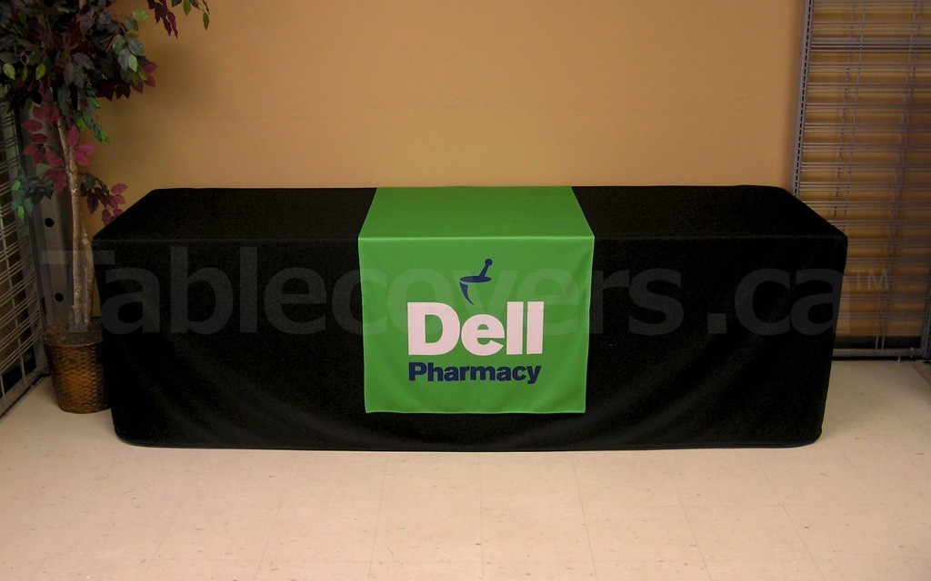 30 inch wide by 80 inch high custom digitally dye sublimation printed table runner overlay for trade shows and display tables (covered table extra)