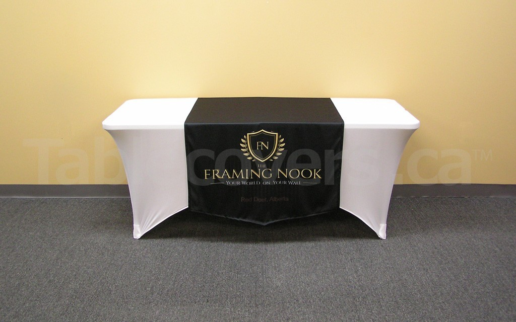 Custom dye sublimation printed 36 inch by 60 inch table runner for trade show display table (6' table with economy spandex plain table cover shown, not included)