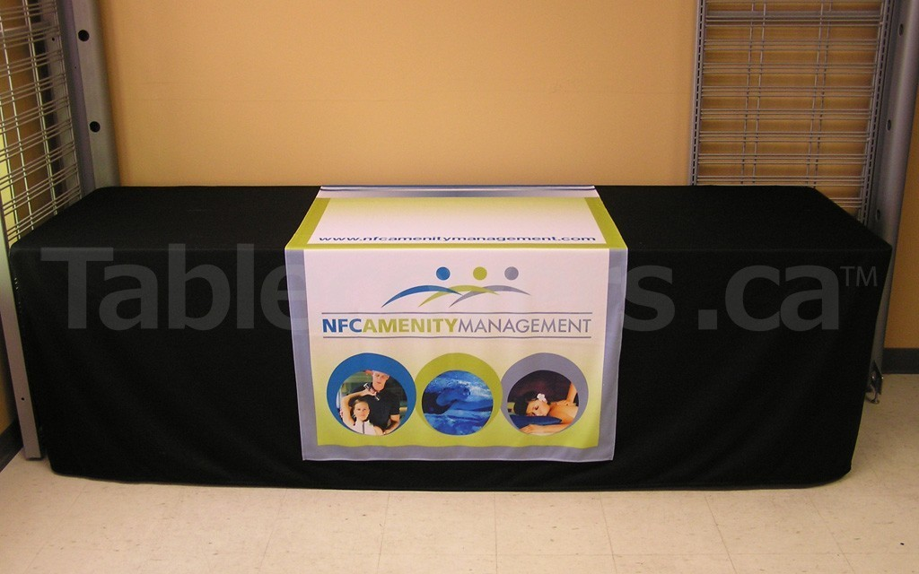 Custom 36 inch x 80 inch all dye sublimation printed table runner on 8 foot table (table and black cover not included)