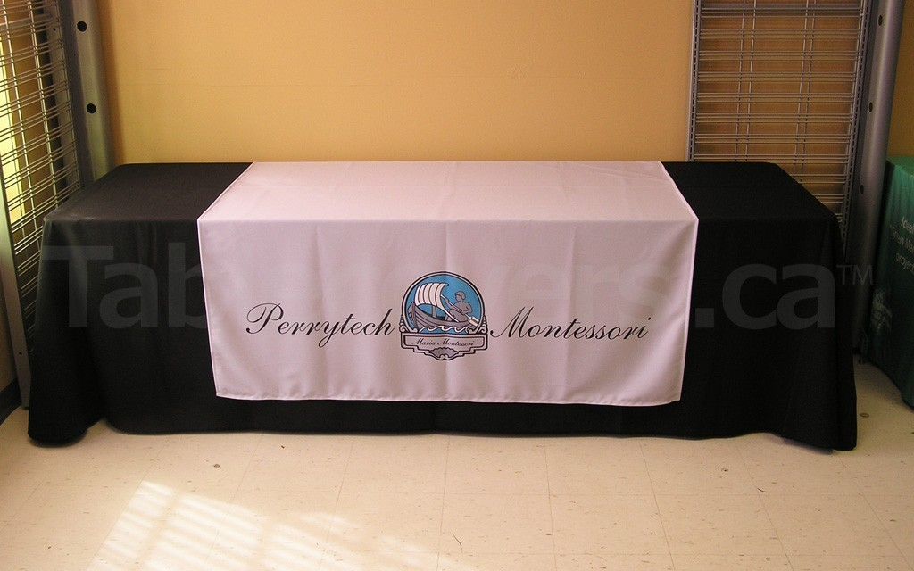 This 60 Inch X 60 Inch Size Custom Printed Table Runner Looks Great On An 8