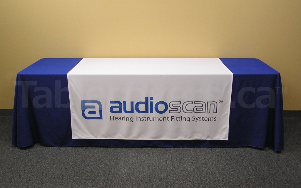 60 inch x 60 inch custom trade show table runner - entire runner is custom printed (foreground & background) with whatever content you want (8' covered table not included)