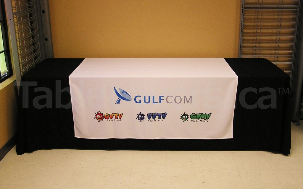 60 inch wide x 80 inch high Custom printed trade show table runner with multiple logos on 8 foot table (table cover is extra)