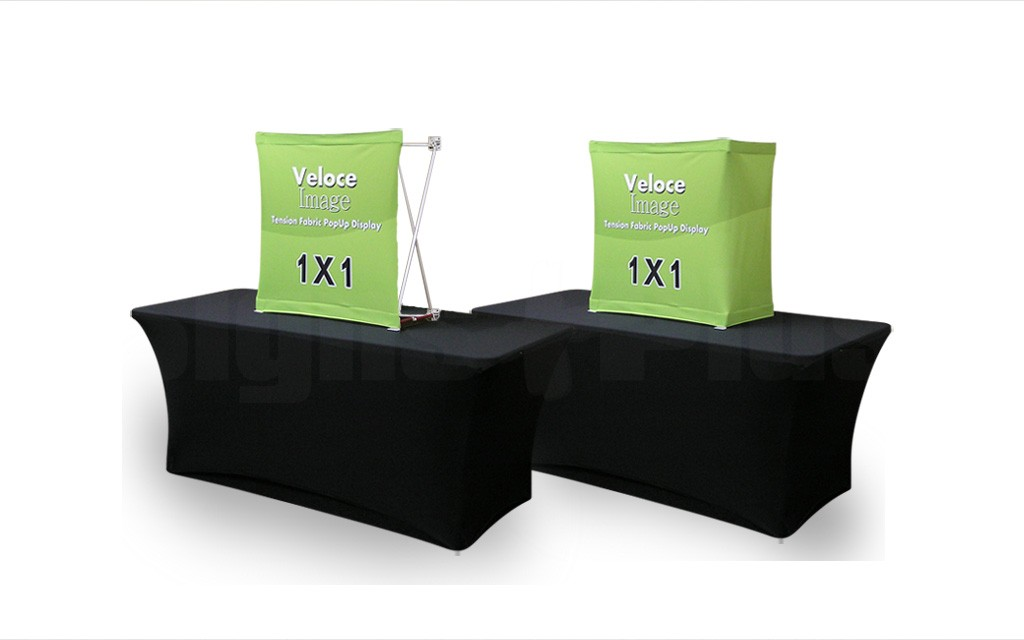 Velocé Image 1x1 is available with graphic covering either the front only or optionally the front & sides (table and cover sold separately)
