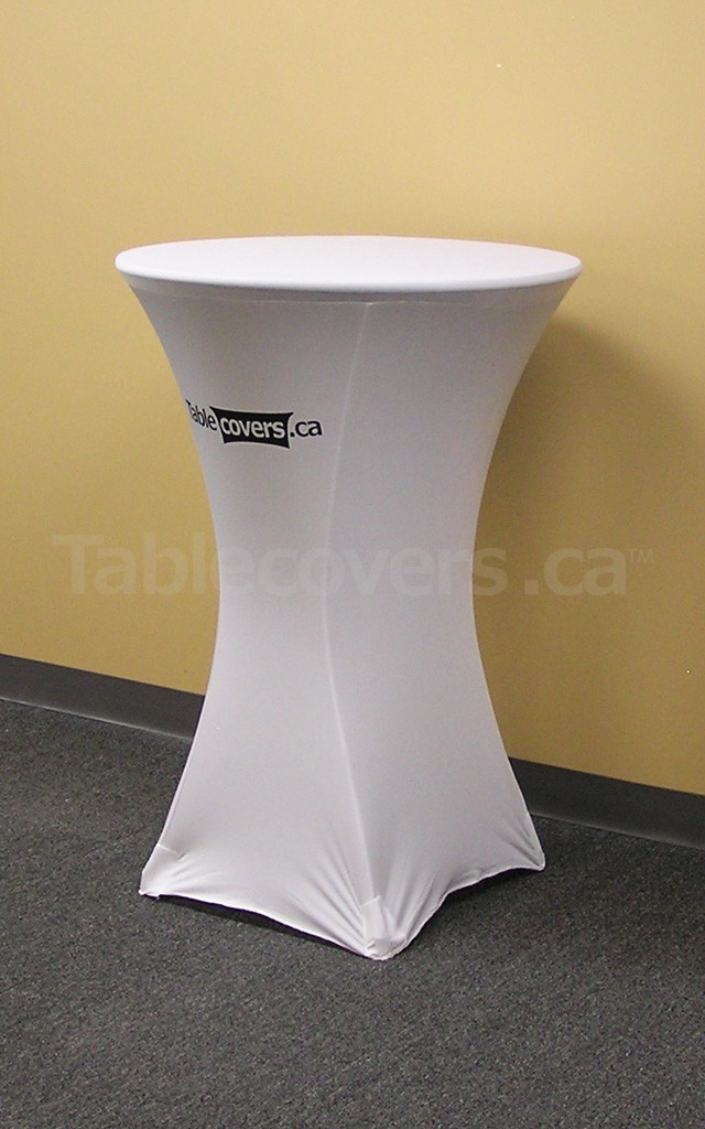 This 30 inch diameter round white fire resistant economy spandex stretch cocktail table cover displays a simple 1 colour black print on the front for economical yet stylish branding