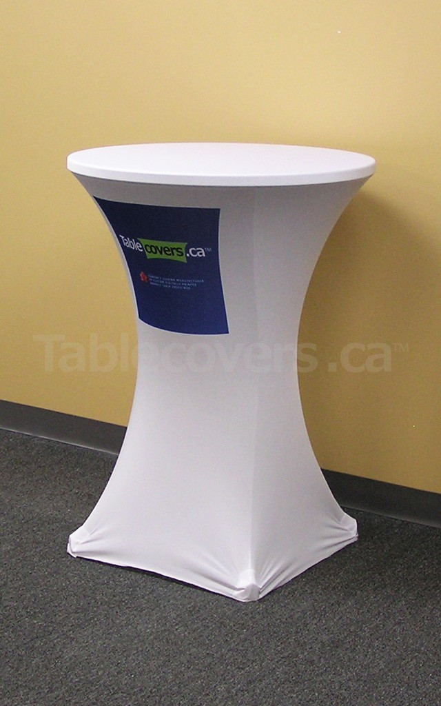 This 30 inch diameter round white fire resistant economy spandex stretch cocktail table cover displays a multi colour pantone pms dye sub print on the front for economical yet stylish branding
