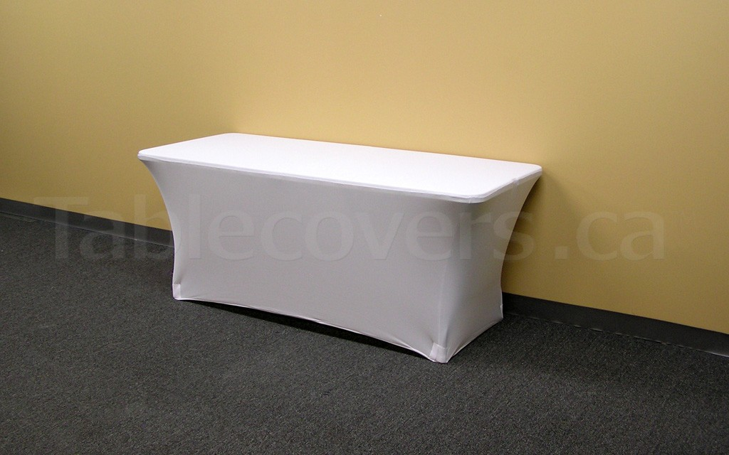 This plain unprinted 6' white economy spandex stretch table cover is ideal for economical yet stylish trade show or event table covering