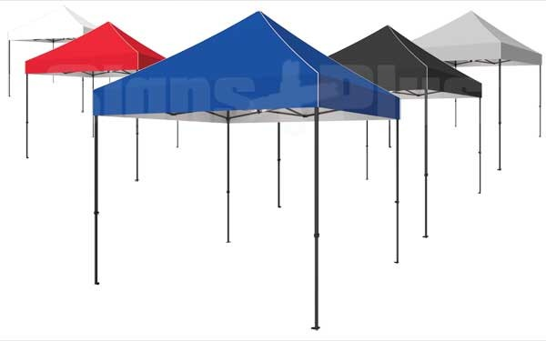 The Zoom Tent 10x10 gives you the choice of 5 canopy colours (black, white, PMS 286C blue, PMS 186C Red, or PMS 429C grey), or have it custom printed exactly as you want!