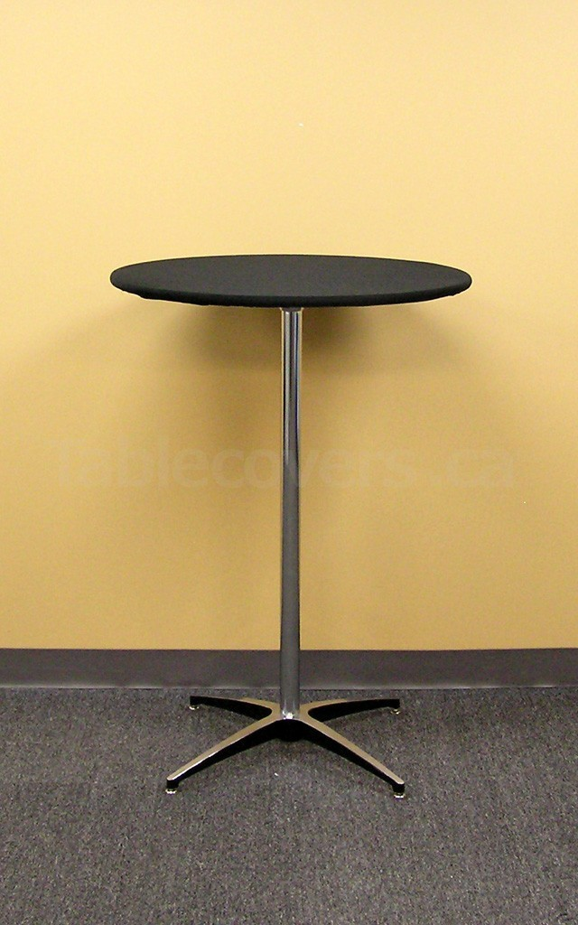 "Black Plain Unprinted 30 inch Round Table Topper Cap on a ""Cruiser 3042"" cocktail table"