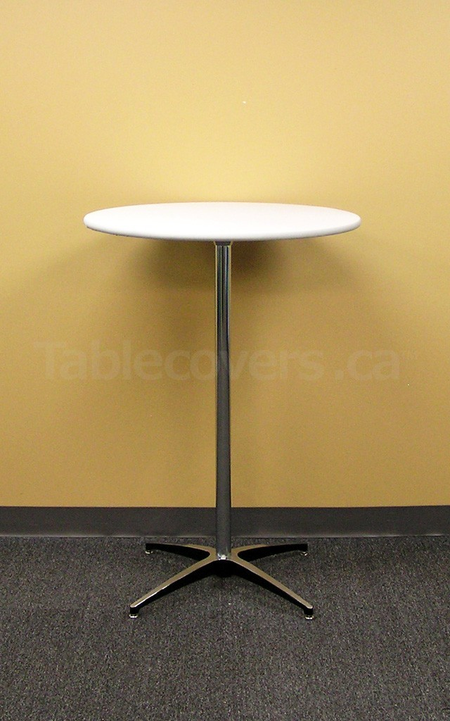 White Plain Unprinted 30 inch Round Table Topper Cap on a Cruiser 3042 cocktail table