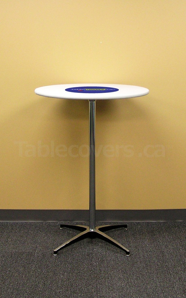 "White 30 inch Round Table Topper Cap with Black Logo on a ""Cruiser 3042"" cocktail table"