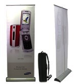 """Imagine - 31-3/8""""w x up to 82.85""""h premium, single-sided easy change cassette cartridge roller-retractable banner stand"""