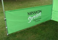 "Half Height 15' wide Wall (single-sided) for ""Event Tent"" - all custom printed"
