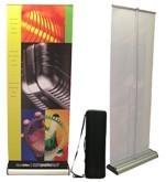 "Excalibur 800 : 31-3/8"" x up to 82.85"" double-sided easy change roller-retractable banner stand"